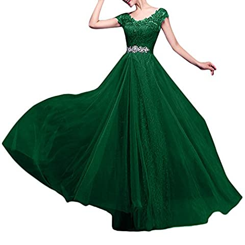 Azbro Women's Floral Lace Paneled V Neck Prom Dress, Dark Green S