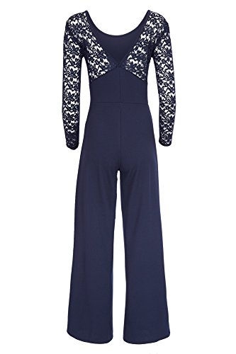 Eleganter Laeticia Dreams Damen Jumpsuit Einteiler mit Spitze Bootcut S M L Marineblau