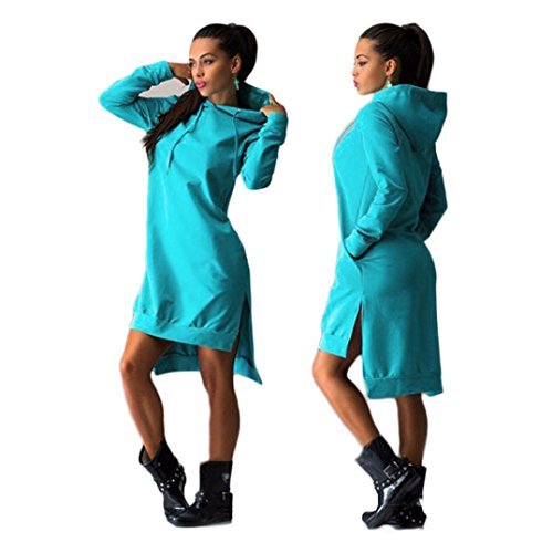 Manadlian Femmes Sweatshirt robe de Split Double Pull à capuche poches Pull Bleu