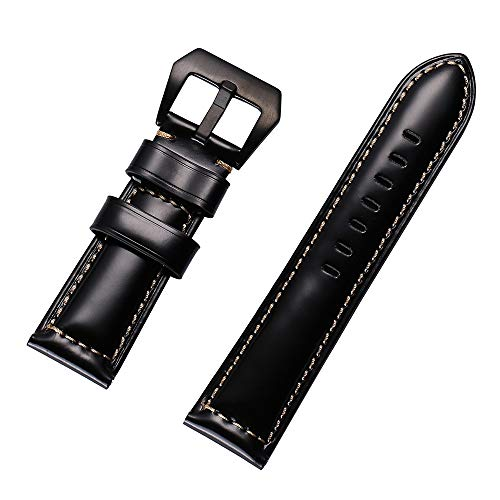BZLine Leder Uhrenarmbänder Band | Gepolstertes Kalbslederarmband Lederarmband Ersatz-Watch Armband mit Edelstahl Metall Schließe für Herren Damen 20mm 22mm 24mm 26mm | Damen Herren | Schwarz Braun