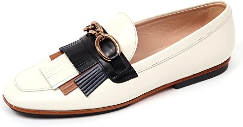 D0522 mocassino donna TOD'S scarpa frangia avorio/blu/cuoio loafer shoe woman