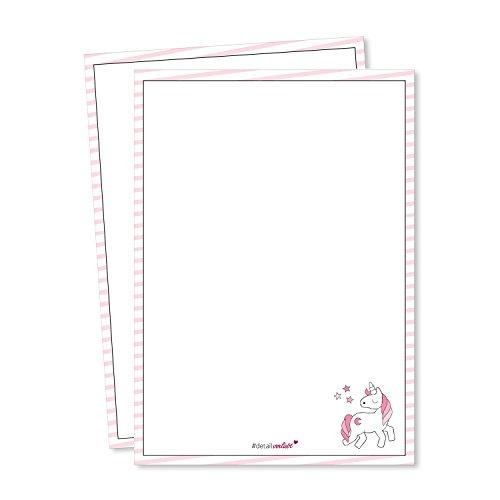 #detailverliebt 2er Set Einhorn Schreibblöcke I dv_118 I DIN A5 I Notizblock Malblock Schreibpapier mit Motiv rosa blanko ohne Linien geleimt zum Abreißen