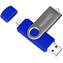 8GB/16GB/32GB/64GB Flash Drive de USB OTG (On the Go) Doble Transforma Memoria USB Stick 2.0 a Micro USB Para Smartphone Android o Tableta (no admite Iphone) (32GB, azul)