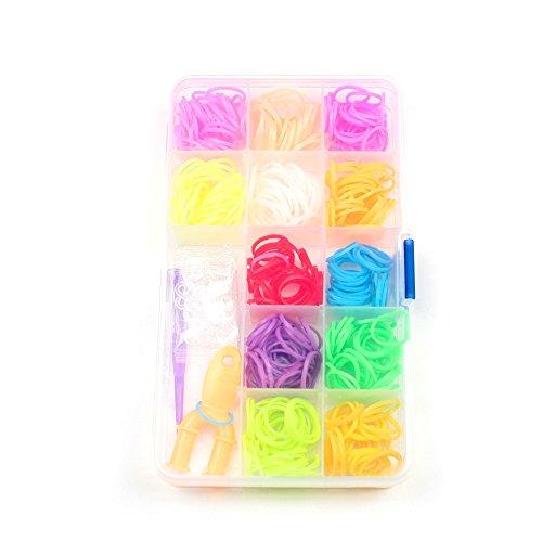 Loom Band Set in praktischer Box mit ca. 400 Gummis in bunten Farben für Armbänder zum Selbstknüpfen mit 17 Verschluss-Haken und Werkzeug Gummi Neon