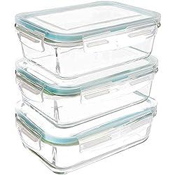 Utopia Kitchen Récipient En Verre - 6 pièces (3 récipients + 3 couvercles) - Boîtes Alimentaires - Couvercles Transparents - Sans BPA - 840 ml - Pour la cuisine ou le restaurant