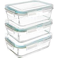 Utopia Kitchen Recipiente - Contenedor de Almacenamiento de Alimentos de Vidrio - 6 piezas (3 envases + 3 tapas) Tapas transparentes - Sin BPA - Para la Cocina o el Restaurante de Uso Doméstico