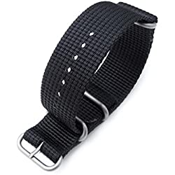 MiLTAT 26mm NATO Watch Band, Thick Zulu Nylon for Heavy Watch, Matte Black, Brushed