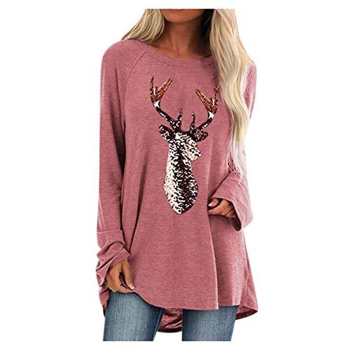 KaloryWee Damen Plus Size Weihnachten Langarm Pullover Rundhals Top Blusen T Shirt Baggy S-5XL
