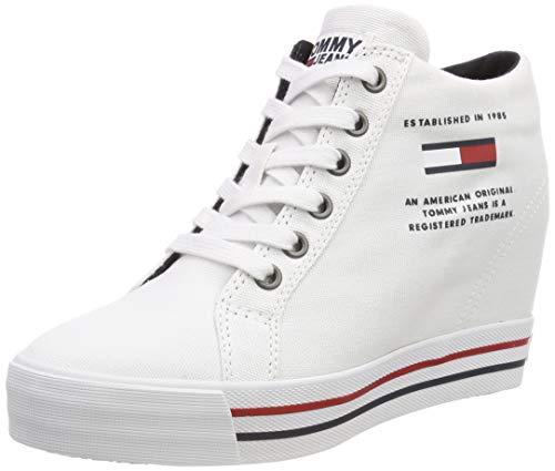 Hilfiger Denim Damen Wedge Casual Sneaker, Weiß (White 100), 41 EU (Casual Wedges)