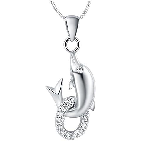AieniD Joyas de Moda Collares Mujer Oro Blanco Colgante Chapado en Plata Delfín Cz