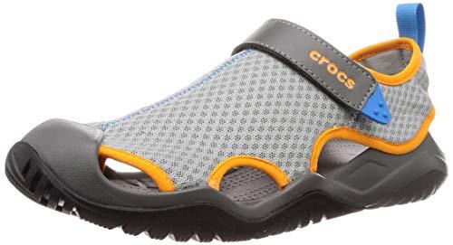 crocs Herren Swiftwater Mesh Deck Sandal M Clogs, Grau (Light Grey/Blazing Orange 0fk), 42/43 EU