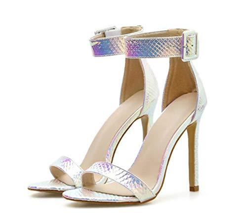 Damen Frauen Absatz Sandalen Frauen Stiletto High Heel Sandaletten Schlange Muster Knöchelriemen Schnalle öffnen Zehe Abend Schuhe, Blau, Silber,Silver,EU35/UK3