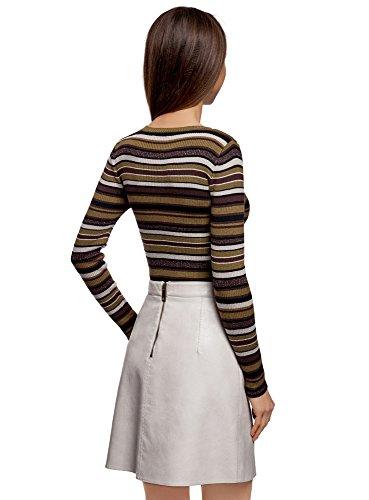 oodji Ultra Damen Pullover Gestreift mit Lurex Braun (6829S)