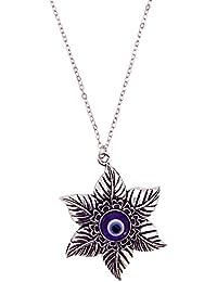 Mehrunnisa Silver Tone Flower Turkish Evil Eye Pendant Necklace For Women (JWL1468)