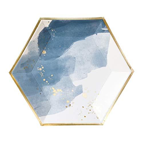 Blue Watercolor w Gold Große Pappteller - Geburtstag Hochzeit Duschen Einweg-Partyteller - Harlow & Grey Malibu 8 Count blau
