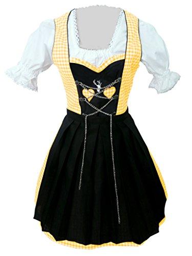 Di04gs Mini Dirndl, 3 teiliges Trachtenkleid in schwarz gelb weiß, Kleid mit Bluse und Schürze, Rocklänge 47-56 cm, Gr. 38