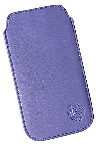 Schutz-Tasche passend fuer Sony Xperia Z2, Pull-tab Handy-Huelle herausziehbar, Etui genaeht mit Rausziehband, duenne Tasche mit exklusivem Motiv Adler Z Hell-Lila
