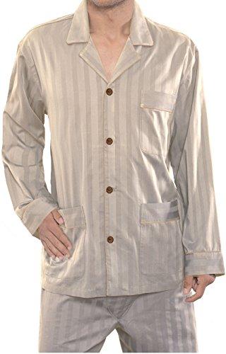 El Búho Nocturno Pigiama Due Pezzi Maniche Lunghe Tradizionale da Uomo Abbigliamento da Notte Classico per Signori Satin 60% Cotone 40% Poliestere