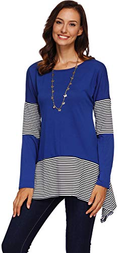 Langarm Gestreiftes Kontrastfarbe Blockfarben Hoch Niedrig Saum Unregelmäßige Saum Hängeroberteil Trapez Bluse Hemd Shirt T-Shirt Oberteil Top Blau XL -