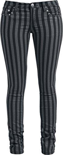 Rock Rebel by EMP Stripes (Slim Fit) Pantaloni donna nero/grigio W33L34