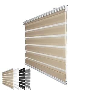 Fensterdecor Klemmfix Mini Duo-Rollo Doppelrollo ohne Bohren inkl. Klemmträger / Creme 75 x 150 cm (BxH)