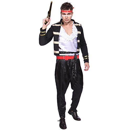 Star Kostüm Pop Rock - Retro Herren Fasching Karneval Kostüm Adam Ant Prince Charming Kostüm 1980er Outfit Rock Musik Pop Star Mottoparty (M)
