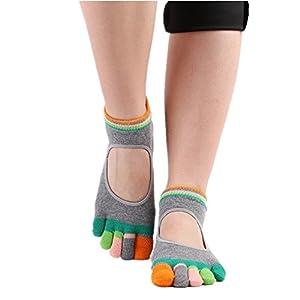 Maybesky Yoga Socken Farbe Fünf-Finger Rutschfeste Gummisocken Offene Baumwollsocken Pilates, Anti-Rutsch-Slip-Socken