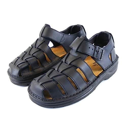 Naot Herren Schuhe Sandaletten Julius Echt-Leder schwarz matt Wechselfußbett, Größe:48