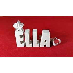 Beton, Steinguss Buchstaben 3D Deko Namen ELLA als Geschenk verpackt!