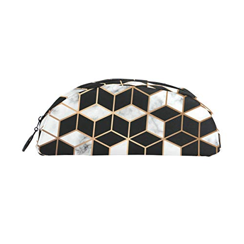 School Pencil Bag Abstract Marblesquare Semicircle for Boys Children Teens Pen Holder Cosmetic Makeup Bag Stationery Pouch Bag Large Capacity