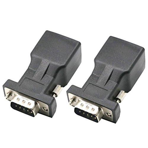 Serieller Extender (Almencla 2er RJ45 auf RS232 DB9 9-polig seriell Port Stecker zu RJ45 Buchse CAT5 CAT6 Ethernet LAN Netzwerk Extender Adapter, Reduzierung von Signalverlust)