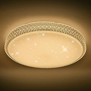 VINGO Starlight Effekt Design 60W LED Deckenleuchte Sternen mit Kristall Rahmen warmweiß 2700-3000K Φ600*122mm rund modern Lampe Wohnzimmer Deckenbeleuchtung