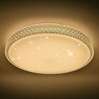 VINGO Starlight Effekt Design 60W LED Deckenleuchte Sternen Mit Kristall  Rahmen Warmweiß 2700 3000K Φ600