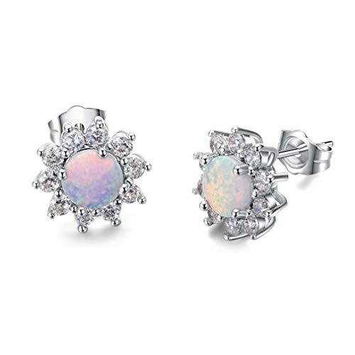 SUNSKYOO Frauen Ohrstecker Imitation Opal Kristall Floral Oval Zirkonia Stud Aussage Clip Auf Ohrring (Opal Clip Auf Ohrringe)