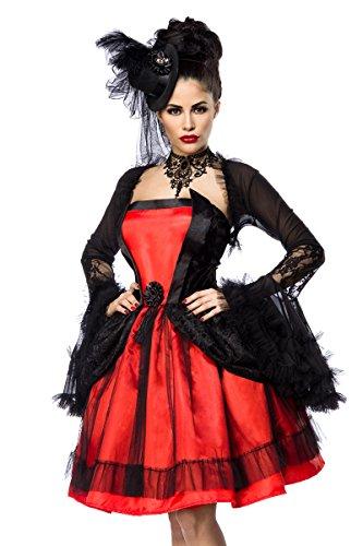Hut Bolero Kostüm - Schwarz rotes Damen Vampier Kostüm aus Kleid Bolero und Hut mit Schößchen und Spitze Spitzenstoff M dunkel