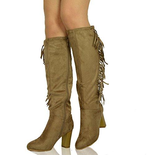 Generic ,  Damen Kurzschaft Cowboystiefel Khaki / Brown