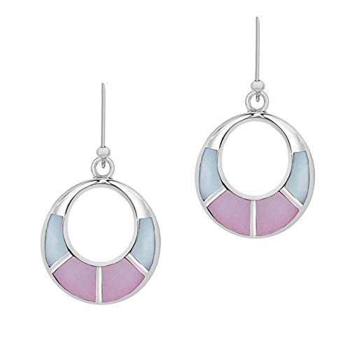 Tuscany Silver Damen Sterling Silber Rosa und Blau Perlmutter 17mm x 24mm Cut Out Drop Ohrringe 8.57.8299
