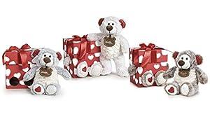 Famosa Softies - Happy Valentine, Oso de peluche de 32cm con caja de regalo sorpresa (Famosa 760017470)