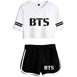2018 Dos Piezas Set KPOP BTS Pantalones Cortos de Verano y Camisetas Imprimir Mujeres Fit Hip Hop Ropa de Estilo Casual