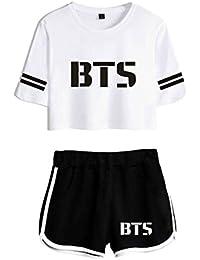 2018 Dos Piezas Set KPOP BTS Pantalones Cortos de Verano y Camisetas Imprimir Mujeres Fit Hip Hop Ropa de…