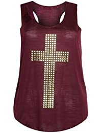 (womens studded cross vest top) (MTC) frauen Gestüt kreuzen Westespitze (40/42 (uk 12/14), (wine) wein)