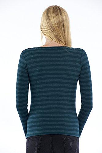 Motherway - T-Shirt à manches longues - À Rayures - Col Rond - Femme Grün Gestreift
