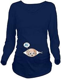 Mxssi Casual Mujer Embarazada Ropa Embarazada Mujer Manga Larga Camiseta Tops
