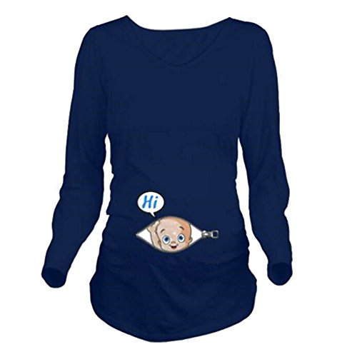 Maternity Damen Schwangerschaft T-shirt Umstands Langarm T-Shirt Babybauch Pullover Jersey Top Oberteil Dunkelblau S Kootk (Frauen T-shirt Baby)