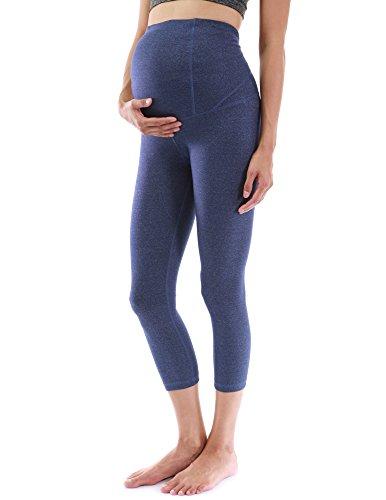 PattyBoutik Mama Formgebung Serie Mutterschaft Ernte Legging Yoga Hose (meliert blau M 40)