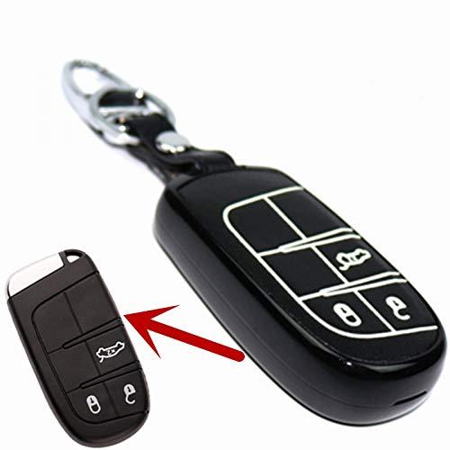 WHXHN ABS Material Echtes Leder 3 Tasten Smart Key Cover, Für Jeep Compass Grand Cherokee, Für FIAT Viaggio Ottimo (Leder Aus Smart-key-cover)