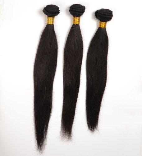 Lot de 3 extensions de cheveux péruviens raides vierges de qualité de tailles différentes 35 cm 40 cm 45 cm