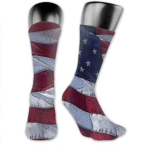 YudoHong socks Most Popular American Flag Unisex Casual Crew Socken Daily Sports Socken Socken (Diabetische Schwarz Crew Socken)