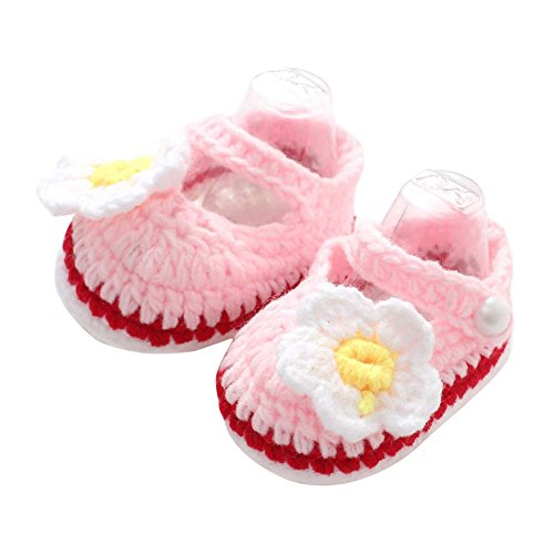Baby Shoes,Amlaiworld Crib Crochet Casual Baby Girls Handmade Knit Sock Roses Infant Shoes (2)