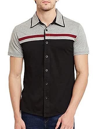 GRITSTONES Black-Grey Melange Half Sleeves Shirt GSHSSHRT1466BLKGM_L